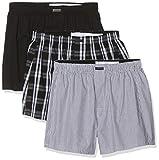 Calvin Klein Herren Boxer WVN 3PK Boxershorts, Schwarz (Blk/Morgan Plaid/Montague Stripe BMS), Medium (Herstellergröße: M)