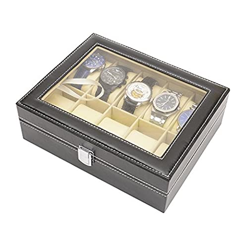 ParaCity Top Large Jewelry Watch Dislpay Box Organizer With Black Leather Case Watch Storage for Men Women (Hold 10 watch)