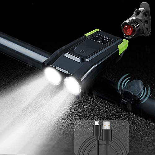 yywl LED Fahrradlicht,Fahrradbeleuchtung Smart Induktion Fahrrad Frontlicht USB wiederaufladbare 2t6 LED Kopf Licht mit Horn 800 Lumen Fahrrad Lampe Fahrrad Taschenlampe
