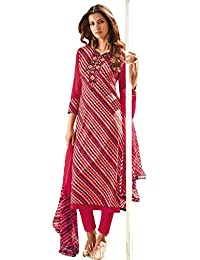Likeadiva Women's Cotton Dress Material (OMTEX-1434B_Free Size_Red)