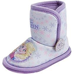 Ragazze Primi Passi Disney Frozen Elsa Anna Olaf Pantofola A Stivale Babuccia Fur Fiocco di neve Blu/Rosa Lilla/Viola Taglia 6-13 - Frozen - Lilla/Viola, EU 23