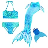 Traje de Baño 4pcs Bikini Establece para Niña Cola de Sirena para Natación