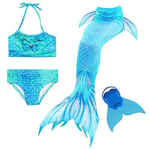 Cola de Sirena para Natación Traje de Baño 4pcs Mermaid Bikini con Monofín Establece para Niña Disfraz...