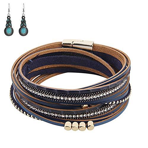 Bracciale da donna bracciale con cinturino in corda circondano bracciale in pelle multistrato fai da te, metallo con fibbia magnetica bracciale con ciondolo (braccialetto blu)