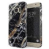 BURGA Hülle Kompatibel mit Samsung Galaxy S6 Edge Handy Huelle Schwarz Mit Gold Onyx Marmor Muster Black Gold Marble Dünn, Robuste Rückschale aus Kunststoff Handyhülle Schutz Case Cover