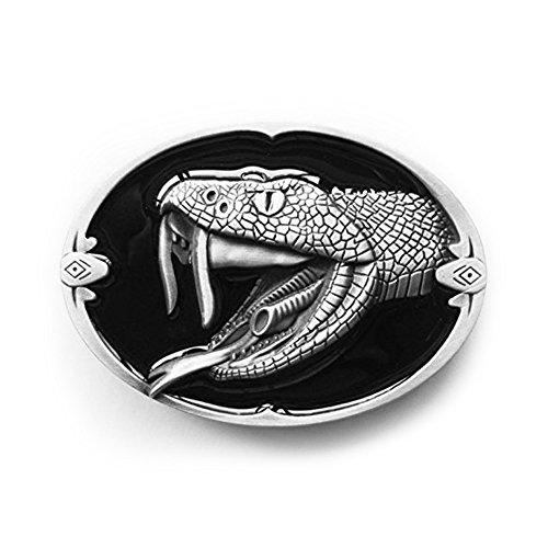 Preisvergleich Produktbild eeddoo® Gürtelschnalle - Schlange - Western Snake - Buckle (Buckle für Wechselgürtel für Damen und Herren | Belt Frauen Männer Oldschool Rockabilly Metall Gothic Wave Rock Biker Western Trucker)