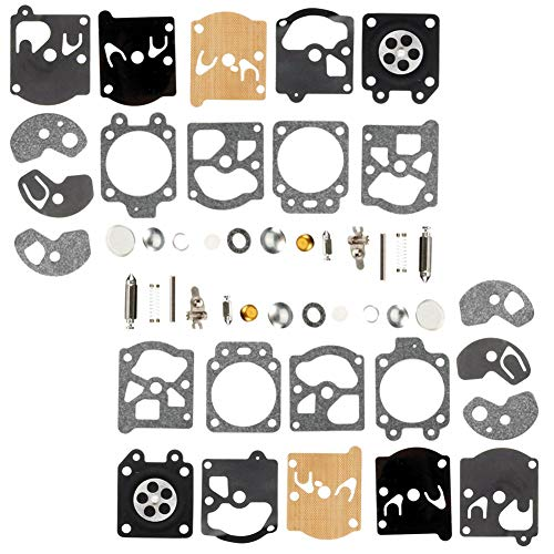 QAZAKY 2pc Carburetor Diaphragm Gasket Rebuild Repair Kit for Walbro  K10-WAT WA WT Series Carb 2-cycle String Trimmers Blowers Chainsaw Poulan