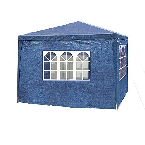 MCTECH 3 x 4 m azul Jardín Carpa tienda de campaña tienda de cerveza Tienda de fiesta, 4 x paredes laterales, 3 x ventanas, 1 x puertas con cremallera, lona de PE impermeable