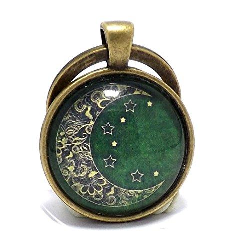 antique-bronze-effect-zen-crescent-moon-keyring