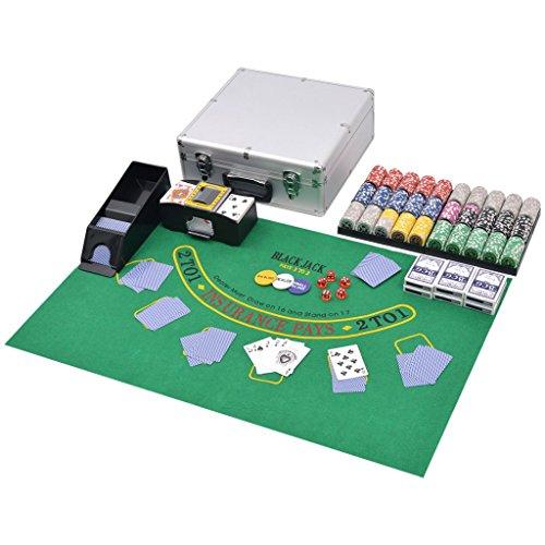 vidaXL Kombiniertes Poker Blackjack Set mit 600 Laserchips Aluminium Koffer