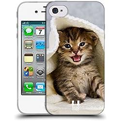 Head Case Designs Chaton dans Serviette Chaude Chats Coque en Gel Doux Compatible avec iPhone 4 / iPhone 4S
