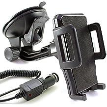 KFZ Set für NOKIA Lumia 1520 / 1320 / 1020 / 930 / 925 / 920 / 820 / 735 / 730 / 720 / 640 / 635 / 630 / 625 / 620 / 535 / 532 / 520 / 435 / auch XL, LTE & DUAL SIM Modelle / KFZ Halterung für die Windschutzscheibe in schwarz inkl. Auto Ladekabel