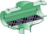 Regenwasserfilter, Zisternenfilter F-150XL • Geeignet für Dachflächen >250m² • Zulauf zur Zisterne DN150 (160mm) • Ablauf in der Zisterne DN100 • Ablauf zum Kanal DN150 • kein Höhenversatz zwischen Zu- und Ablauf • Gehäuse L/B/H 480/170/350mm • Große Filterfläche aus Kunststoffspaltsieb 370x140mm • für Einbau in Zisternen