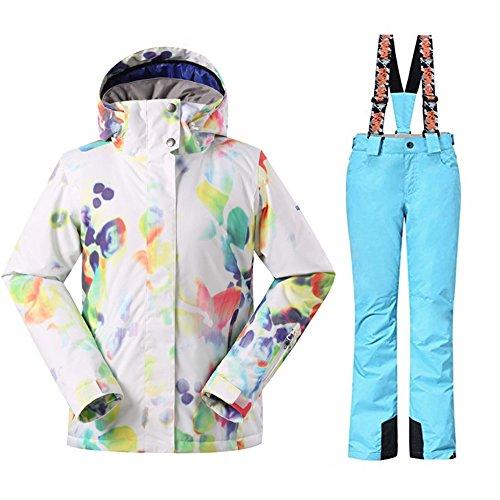 Wonny 2 Teilig Skianzug Wasserdicht Schneeanzug Jacke und Hosen Unisex Skiset Blau L