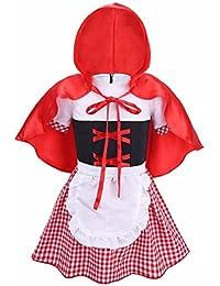 83b2ff2382637 IEFIEL 2 PCS Enfant Bébé Fille Déguisement Petit Chaperon Rouge Robe avec  Manteau Plaid Cape Cosplay