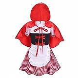 iEFiEL 2 PCS Enfant Bébé Fille Halloween Costume Cosplay Déguisement Avec Manteau Plaid Robe Manches Courtes Robe Avec Cape 6-18 Mois Rouge&Blanc 18-24 Mois