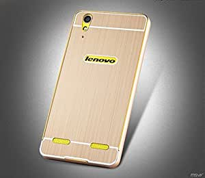 High Quality Luxury Acrylic Back Metal Frame Bumper Case Cover for Lenovo A6000 A6000 Plus 4G with Front Screen Protector -- Gold