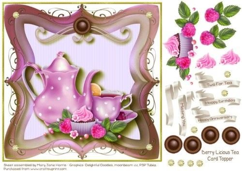 Berry-Licious Tea Card Topper 3 by Mary Jane Harris