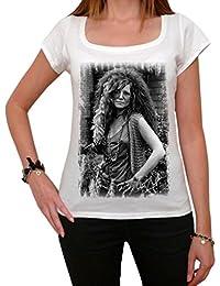 Janis Joplin, tee shirt femme, imprimé célébrité,Blanc, t shirt femme,cadeau