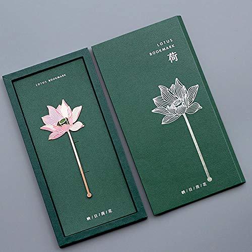 GOUDAIDAI Segnalibro Per Bambini Regalo di natale del segnalibro di arte antica del metallo di koi della retro nappa del segnalibro di stile cinese, fiore di loto