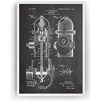 Boca de Incendio Poster de Patente Fire Hydrant Patent Póster Con Diseños Patentes Decoracion de Hogar Inventos Carteles Prints Wall Art Posters Regalos Decor Blueprint - Marco No Incluido