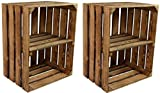 CHICCIE 2 Set Vintage Holzkiste mit Ablage vom Werk (Längst)- Gebrannt Geflammt - Obstkiste - Weinkiste - Natur Used Look