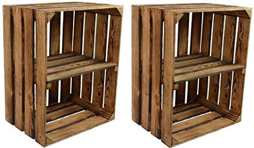 CHICCIE 2 Set Vintage Holzkiste mit Ablage vom Werk (Längst)- Gebrannt Geflammt - Obstkiste - Weinkiste - Natur Used...
