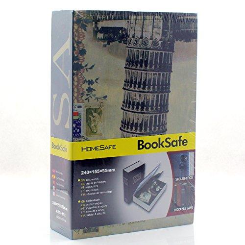 riipoo (TM) für große Buch Zeitvertreib verstecktem Buch Safe mit starkem Metall Case Innen und Key Lock (Größe: 24015555mm) cyan (Buch Safe-kombination)