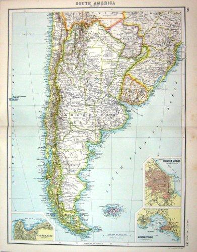 Video Ayres Bartholomew-Karten-C1900 Südamerika Flakland Valparaiso Monte
