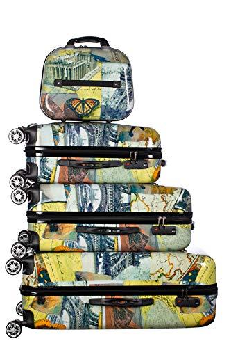 Birendy Reisekoffer Polycarbonat Hartschalen Hardcase Trolley mit Zahlenschloss Koffer Kofferset 4 Rollen einfacher Transport (A3-Weltreise bunt, Set...