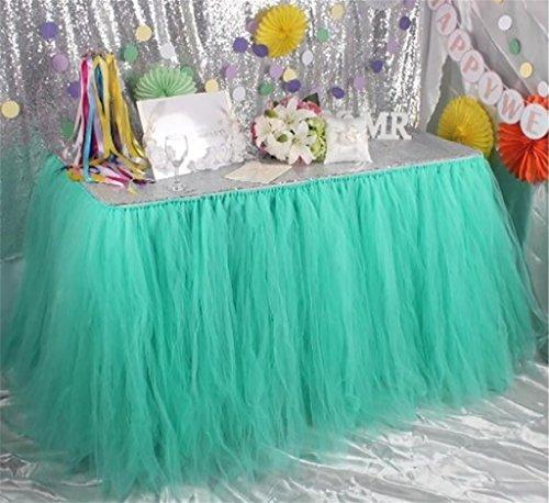 Preisvergleich Produktbild XUAN Tabelle Rock handgefertigt Geburtstag Party Dessert flauschigen Garn Hochzeit Empfang Kindertisch rund um die Tischdecke , mint green