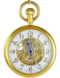 Ogle 3ATM impermeable Vintage acero inoxidable oro blanco Fob Self bobinado automático esqueleto mecánico reloj de bolsillo cadena caja
