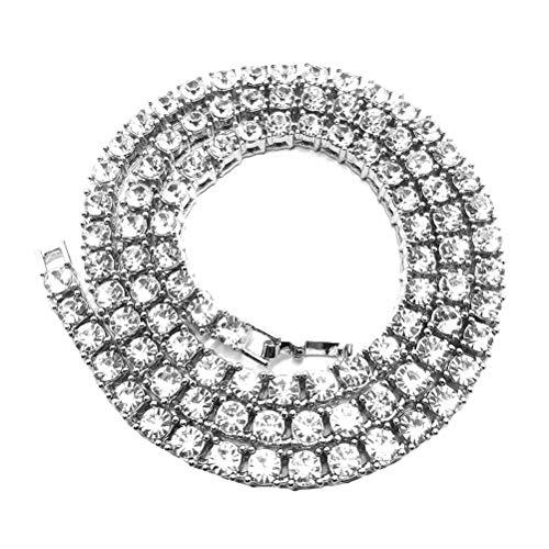 TENDYCOCO Einreihige Halskette hip-hop-Stil Ketten kristall Strass Halskette schmuck zubehör (Silber, 75 cm)