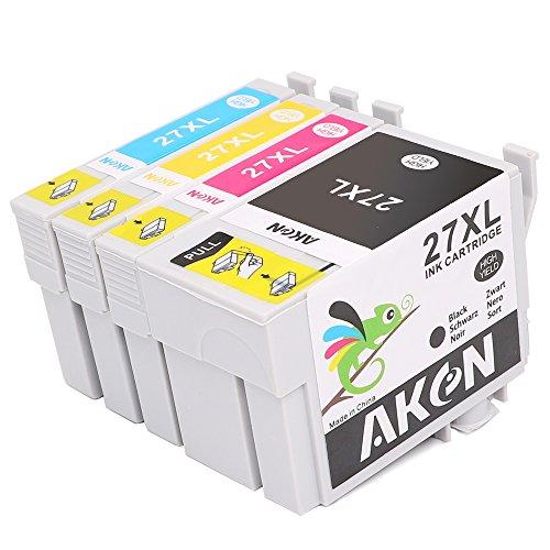 Preisvergleich Produktbild Aken Ersatz für Epson 27X L (T2711T2712T2713T2714) Tintenpatronen kompatibel mit Epson WF 36407610362076207110Drucker (1schwarz, 1cyan, 1magenta, 1gelb)