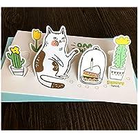 SUPRERHOUNG Tarjeta de felicitación de Animales de 1 Pieza Tarjeta de 3D Tarjeta de Mano de DIY para la mayoría de Las Ocasiones (Cat)