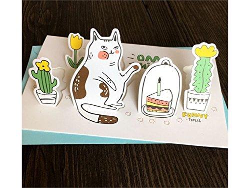 (3D Pop UP Grußkarten 1 Stück Tier Gruß Karte 3D Karte DIY handgemachte Karte für die meisten Anlässe (Katze) Jubiläum Einladung Hochzeit)