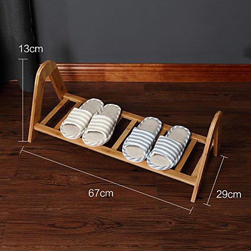 QFFL Chaussure pratique empilable créatrice de support / support de stockage ménageant l'espace simple de ménage / étagère moderne en bambou assemblée Range-chaussures ( Couleur : A pack of 4 , taille : 67*29*13cm )