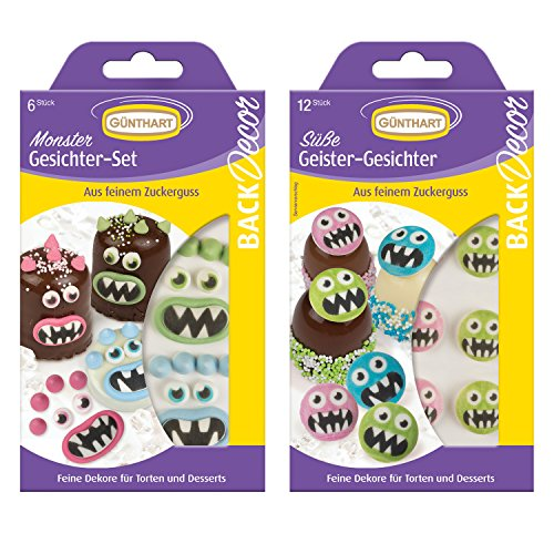 1 BackDecor Monster Set | aus Zucker | Monster Gesichter | Geister | Cupcake Monster | Tortendeko Monster | essbar