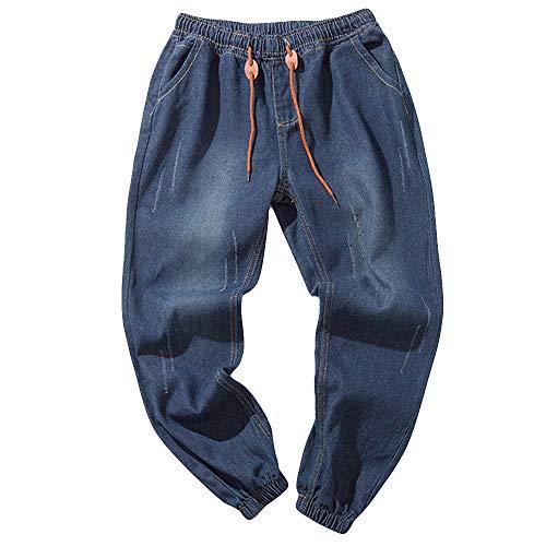 Jeans uomo stretti alla caviglia, rcool jeans da uomo elasticizzati casuale denim pantaloni con coulisse 2 colore m-5xl,