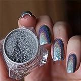 AccMart Nail Pulver, Laser Hologramm Regenbogen Chrom Nail Pulver, Maniküre Pigment, Nail Art Chrom Pigment glitzern, mit Sponge Stick Nail Art Tools