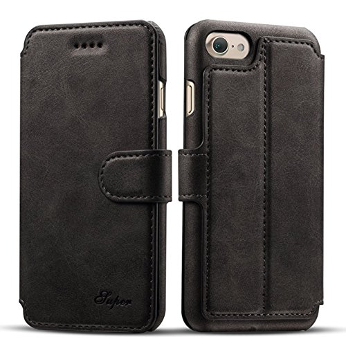 iPhone 7 Custodia, Pasonomi iPhone 7 Cover custodia Retro Wallet a Libro in Pelle Con Supporto di Stand Cover Per iPhone 7, Nero
