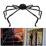 Unomor Halloween Spinne Deko mit LED-Augen Große Haarige Riesenspinne batteriebetrieben, 150cm, Schwarz
