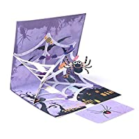 Forart Horror Spiders 3D Popup Halloween Card with Envelope Trick Or Treat Greeting Card Halloween Party Invitations for Women Men Kids