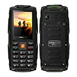 """Mobile phone,2017 New VKworld Stone V3 2.4"""" Sim-Free Mobile phone with Big Button,IP68 Waterproof,Shockproof,Dustproof,LED Flashlight and Triple Sim Triple Standly 2G Unlocked Cell phone for the Elderly/Military(2MP Camera,64MB+64MB,FM Radio,Box Speaker,3000mAh battery,Millet Lamp Gift) (Green)"""