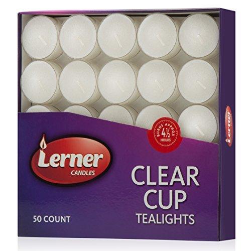 Box von 50geruchloses weiß Hochzeit Party Tee Kerzen in Klar Cup Brenndauer ca. 4,5Stunden