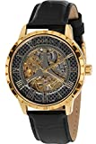 LOUIS XVI Herren-Armbanduhr Paris Gold echtes Karbon Automatik Skeleton Swiss Made Analog echtes Leder Schwarz 668