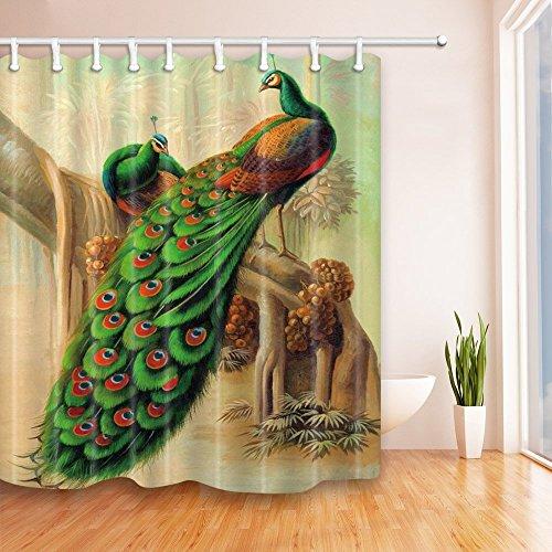 Pfau Decor Dusche Vorhänge Klassische Artful Edler Pfau Design Bad Vorhänge 180,3x 180,3cm (Star-dusche Vorhang-set)