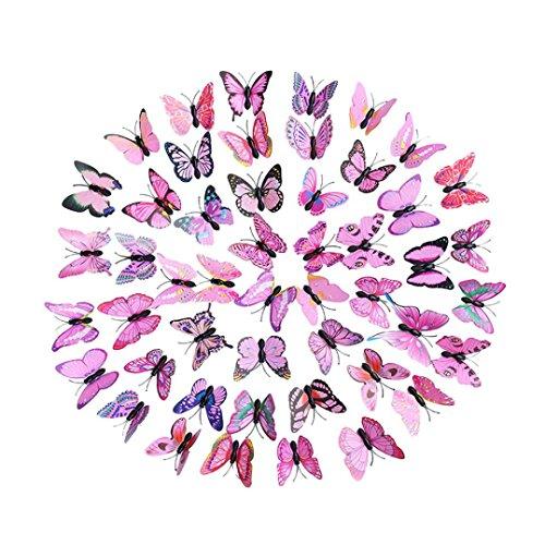 Trada 30 Schmetterling Wandaufkleber Kühlschrank, 3D DIY Aufkleber Wandaufkleber Home Decor Regenbogen Schmetterling Aufkleber Room Decor Wandaufkleber Wallsticker DIY Decor (Rosa)