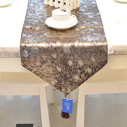 Runner da tavola doratura Emmet in tessuto jacquard con velluto, in ciniglia, flanella di diamante e Golden seta con nappine decorazione per la cucina, 100% cotone, Coffee (Velvet Golden Silk Jacquard), 13