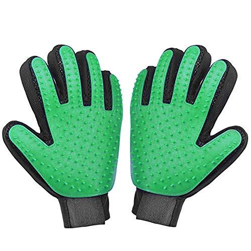 HYCKee Pet Grooming Gloves, Gentle Deshedding Glove Brush Efficient Pet Hair Remover Mitt - Massage Tool with Enhanced Five Finger Design for Dog & Cat- Long & Short Fur (1 Pair Green)